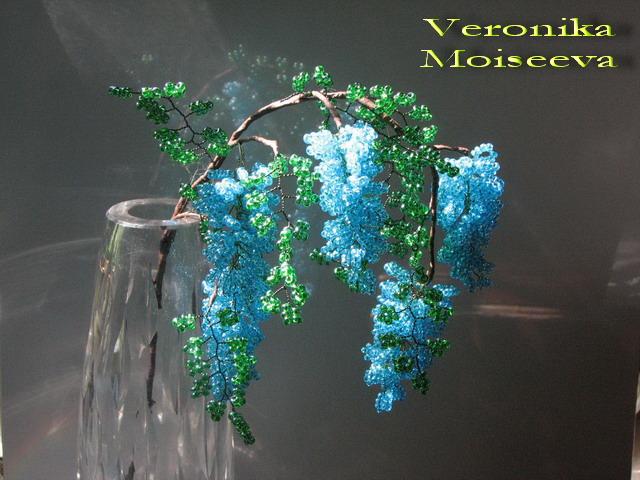Бонсай из бисера дерево глицинии из бисера цветы из бисера.