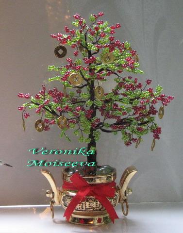 Денежное деревце из бисера и