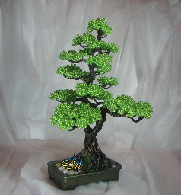 Дерево из бисера как своими руками плести деревья из бисер пошагово, поделки из.