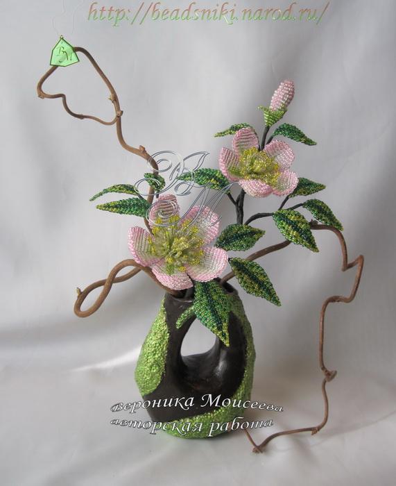 Авторская работа цветы из бисера